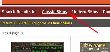 how to find winamp classic skins easily