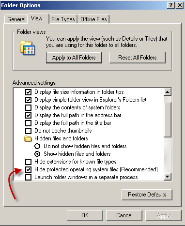 folder options to see hidden folders