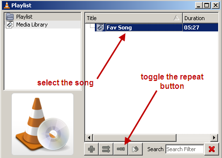 repeat a song in vlc media player