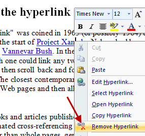 remove all hyperlinks from word