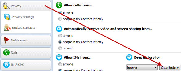 How to delete skype call and chat history