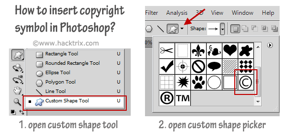 insert copyright symbol in photoshop