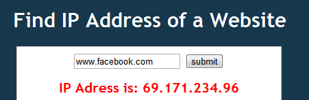 find ip address of facebook