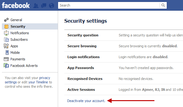 How to deactivate and reactivate your facebook account deactivate your facebook account one ccuart Image collections